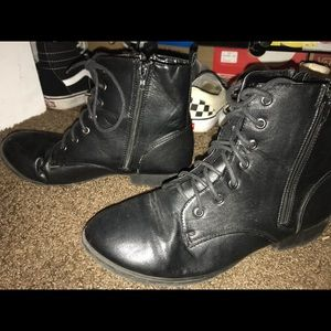 Charlotte Russe Black Army Boots Size 8